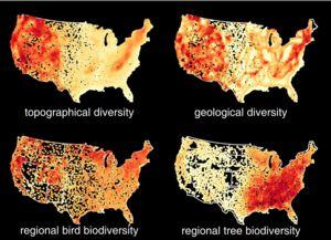 U.S. map geodiversity and biodiversity satellite images