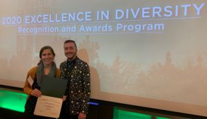 Ash and Marjorie accepting an award for Project Diversify