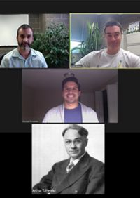 Image of Waters research team with accompanying photo of Arthur Henrici
