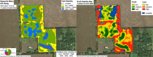 """Basso's """"prescription"""" maps reveal productivity levels meter by meter, showing farmers where conventional crops are successful and where they are not."""